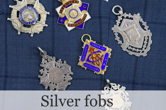 Silver and enamel antique and vintage fobs