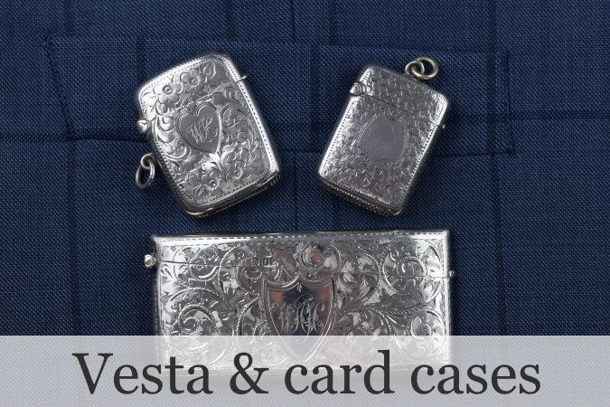 Silver antique vesta cases and card cases